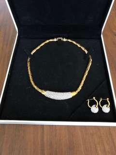 Genuine Swarovski Gold Crystal Necklace & Earrings circa 90's