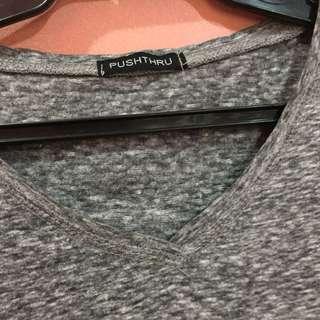 Push Thru V-neck Gray Shirt