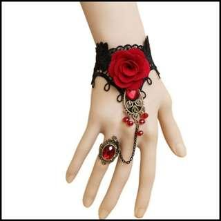 [Mailed] Gothic Style Lace Red Rose Bracelet Finger Ring