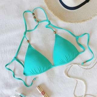 全新Voda Swim 木珠美背款比基尼上衣 Tiffany藍綠色S號