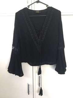 Black Bohemian Style Top