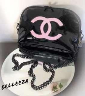 Authentic Chanel VIP Gift Glossy Black With Pink CC Logo Bag