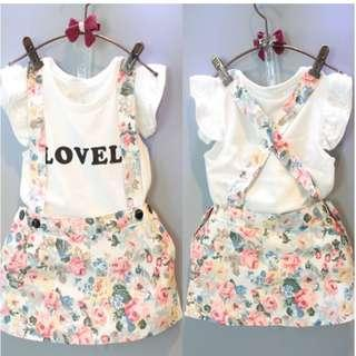 PreOrder 2pcs Floral Skirt Overall and tshirt