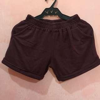 Maroon Garter Short with Pockets