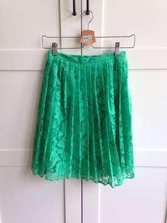 Topshop green lace skirt