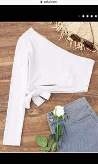 Zaful white one shoulder crop