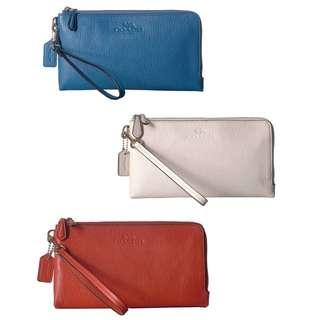 BRAND NEW COACH Pebbled Leather Double Zip Wallet