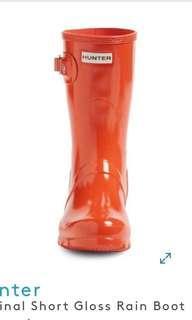 USA 購 Hunter orange  Original Short Gloss Rain Boot (Women) 水靴