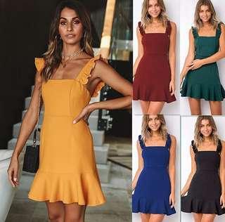 S - XL Flutter Strap Dress