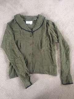 Green silk shirt