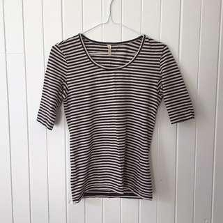 Organic Gorman 3/4 Sleeve Striped Top in Size 8