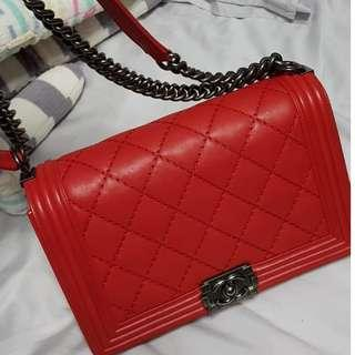 Authentic CHANEL Boy New Medium Red [Ruthenium HW]