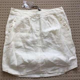Kookai Ivory Side Button Linen Skirt - size 34 Brand New RRP$120