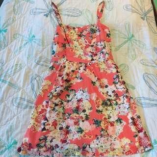 Preloved Promod Sleeveless Pink Floral Short Summer Dress