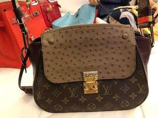 Louis Vuitton bag with 3 skins ostrich/snake/cow skin