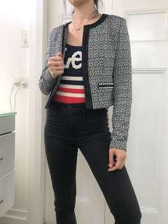 Woven cropped jacket