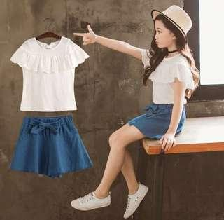 Instock lace blouse with denim shorts