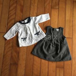 🚚 只穿一次 法國專櫃 送子鳥 Le Premier 新生兒洋裝 女寶包冬天洋裝