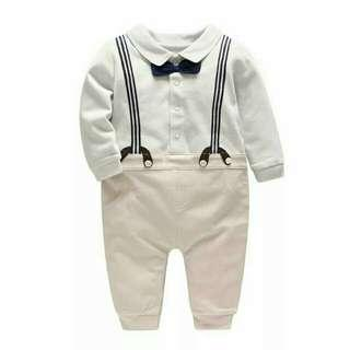 new boy baby shoulder strap gentleman body suit tattoo baby to imitate two pieces of clothes baby long Sleeve Jumps