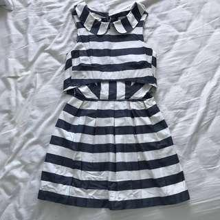 ASOS Classy Stripe Peterpan Collar Backless Dress