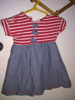 Dtripe/denim dress