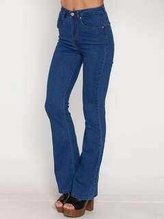 Deep Blue 70s Inspired High Waisted Flares