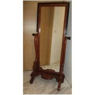 Vintage Victorian Revival, Adjustable, Standing, Full Length, Tilting Dressing Mirror