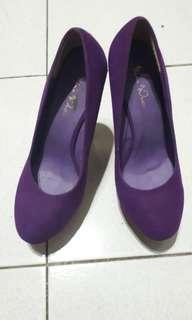 Sepatu high heels wedges nine west ungu