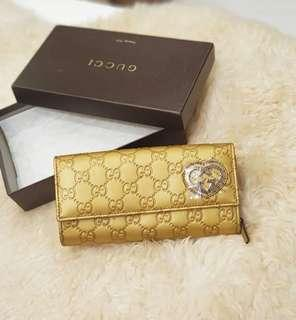 GUCCI LOVELY GUCCISSIMA DOUBLE SNAP LONG WALLET GOLD ❤BIG SALE! P14k ONLY❤ In excellent condition With box and card Swipe for detailed pics