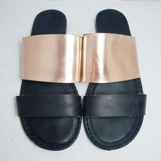 RUBI Shoes - Size 38 - Gold and Black Statement Sandals