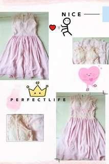 #Pink Lace+Chiffon Dress F9048 #粉色蕾丝+雪纺裙