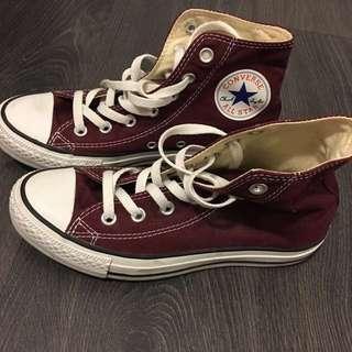 Maroon coloured converse