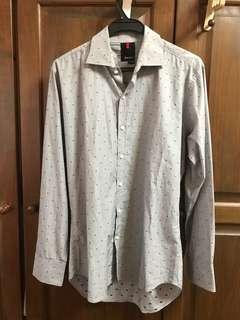 Slim Fit Grey Polka Dot Shirt from Library