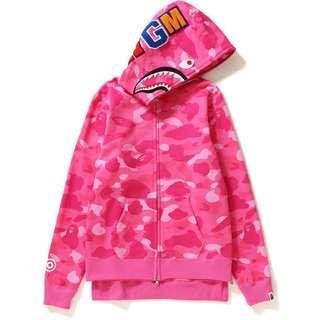 A Bathing Ape Pink Camo Full Zip WGM Bape Shark Hoodie