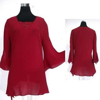 Red Flare Blouse