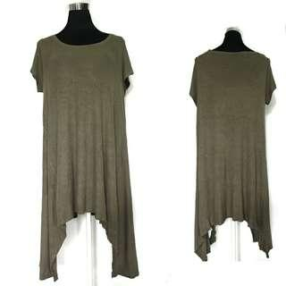 Cotton On Army Green Ribbed Long Top