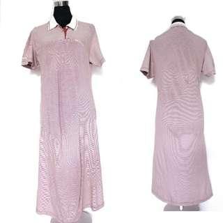 Light Brown Stripe Midi Dress