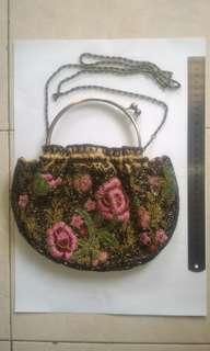 Flowery Beaded Party Women Bag