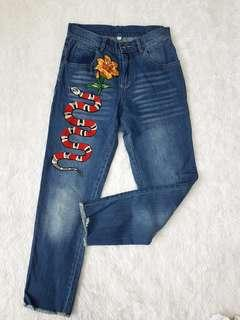 Snake Embroidered Jeans