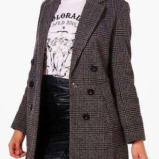 BNWOT Double Breasted Check Coat