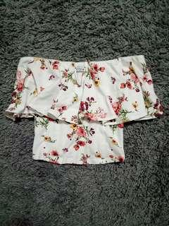 Bershka Off-Shoulder Floral Top