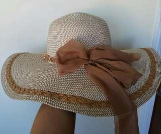 Nude hat/ Brown Hat/ Elegant Hat/ Summer Hat/ Beach Hat