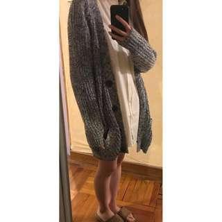 女裝厚身長版冷外套開胸 灰色 保暖