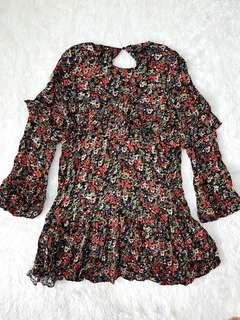 NEW Zara Floral Ruffle Dress