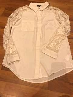 Cream lace sleeves top