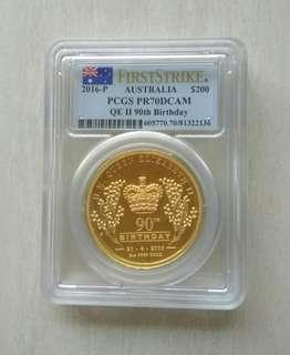 Australia 2016 $200 QEII 90th Birthday 2 oz 0.999 High Relief Proof Gold Coin PCGS PR70 DCAM.Mintage only 300 pcs.Sold out at Perth Mint.