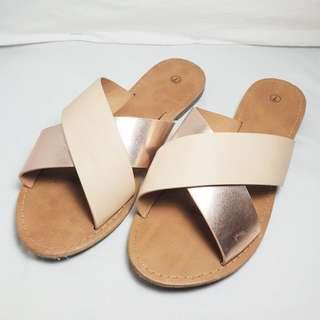 UNKNOWN BRAND - Size 7 - Metallic Rose Gold Strappy Sandals