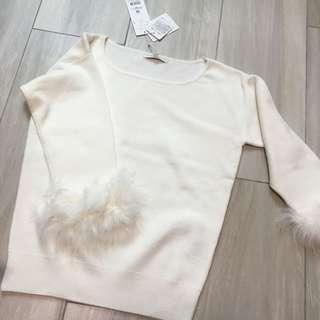 🈹PBD毛毛袖(可拆)米白色針織上衣(🈹