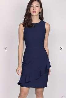 TDC Amandine Tier Pleated Dress In Navy Blue
