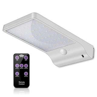 Solar Wireless Powered Motion Sensor 36 LED Light Weatherproof 3 Mode Remote